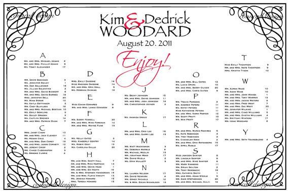 Sample Chart Templates » Alphabetical Seating Chart Wedding ...