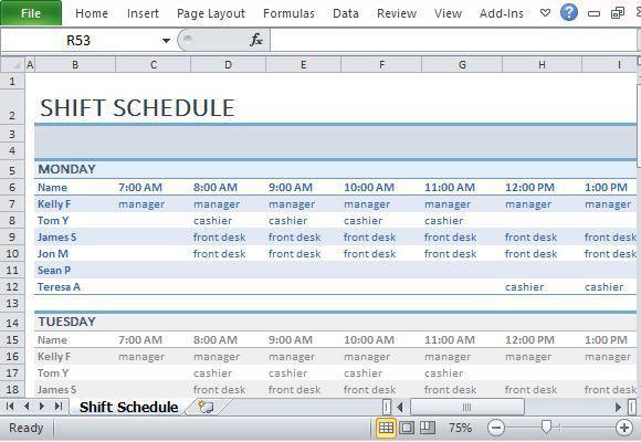 employee shift schedule template