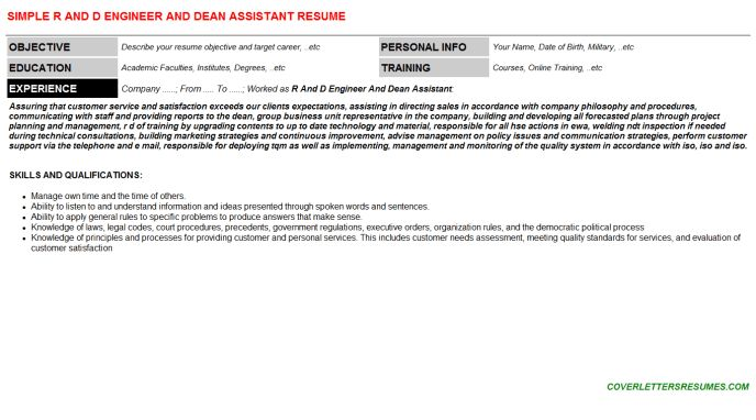 R And D Engineer And Dean Assistant Cover Letter & Resume