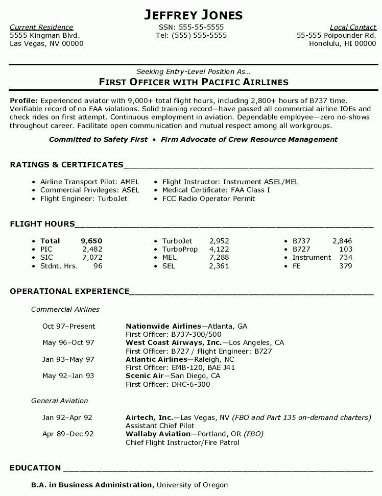 commercial airline pilot resume | CV | Pinterest | Airline pilot ...