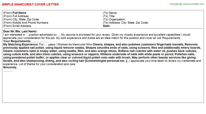 Manicurist Cover Letter