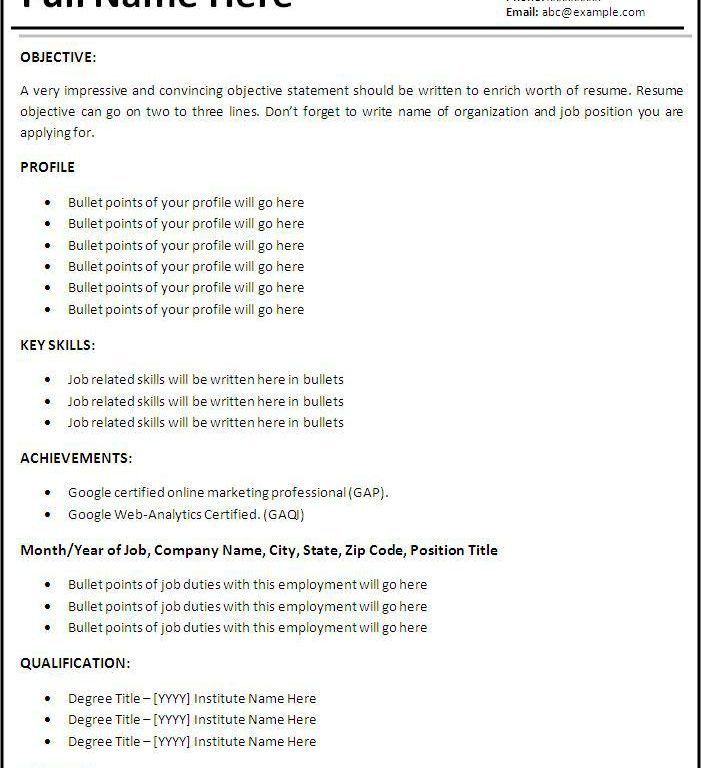 Resume bullet points examples