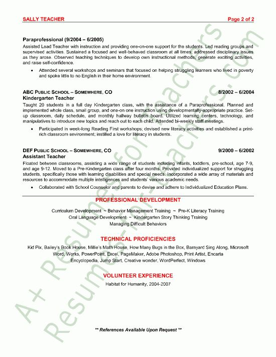 Preschool Teacher Resume Sample - Page 2 | Teacher and Teacher ...