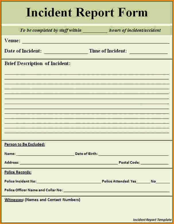 8+ incident report format | paradochart