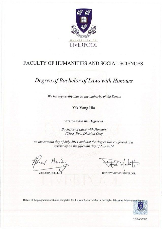 LLB Degree Certificate
