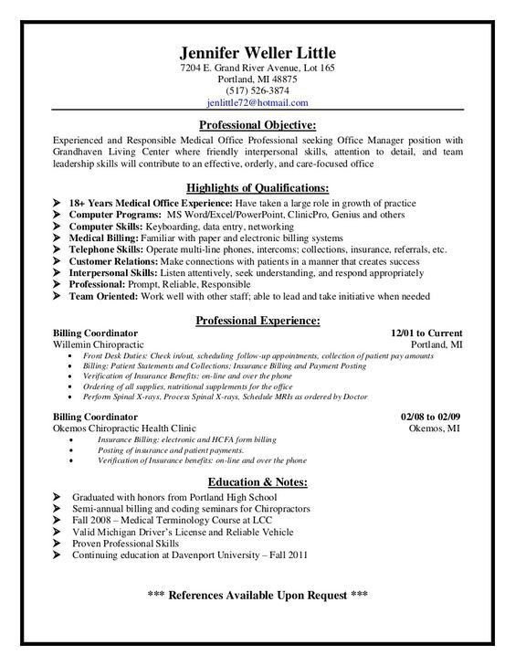 Medical Billing And Coding Resume Objective Samples. best 20 ...