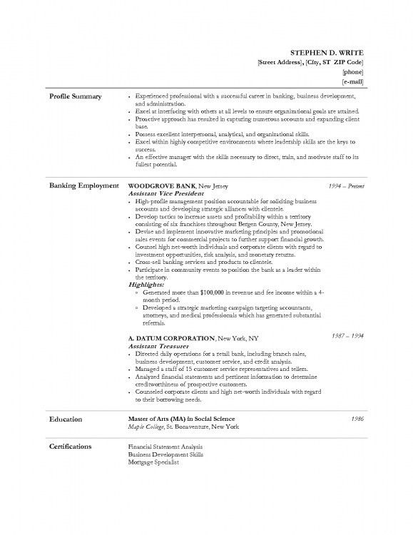 professional banking resume samples templates. mortgage banker ...