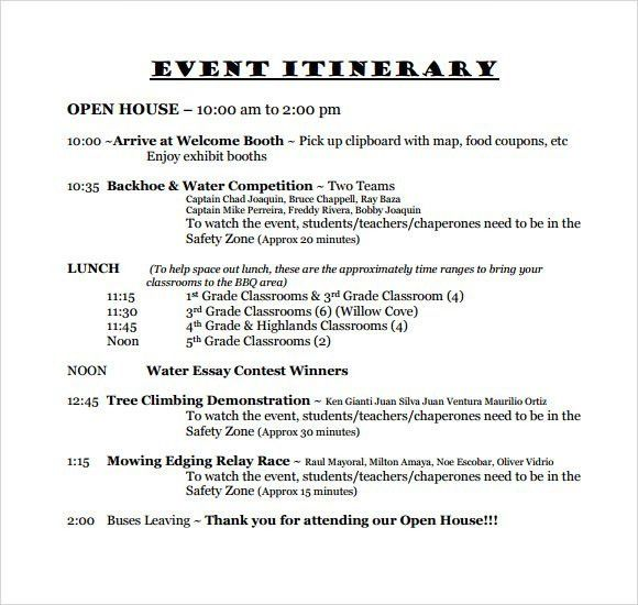 Event Itinerary Template | Template Design
