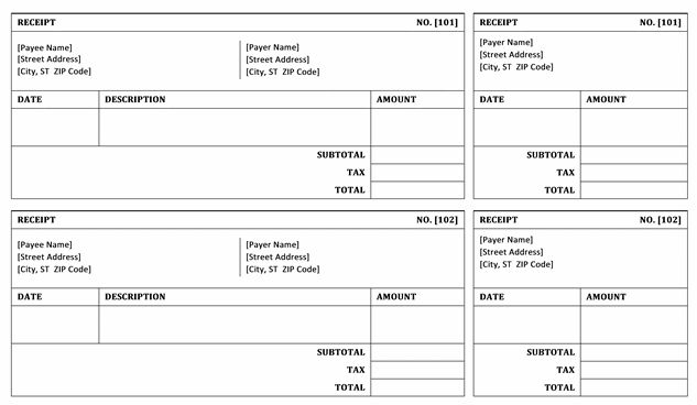 Top 4 Layouts For Bill receipt Templates - Word Templates, Excel ...