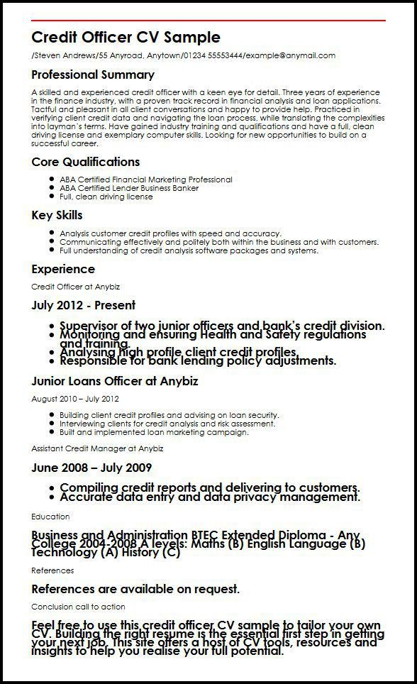 Credit Officer CV Sample | MyperfectCV