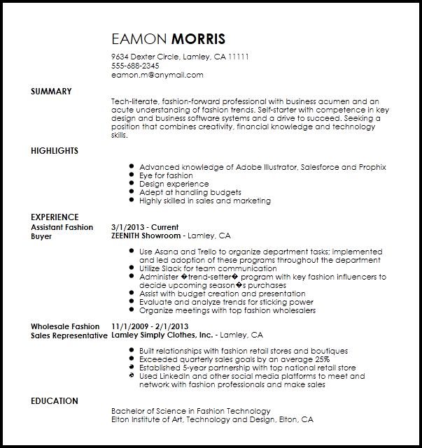 Free Contemporary Fashion Assistant Buyer Resume Template | ResumeNow