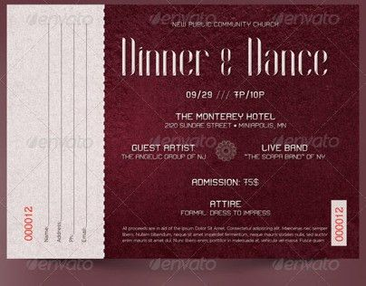 Dinner and Dance Ticket Template on Behance