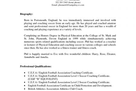 Student Soccer Resume Player - Reentrycorps