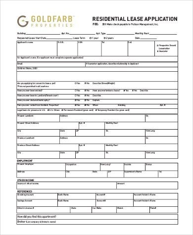 Sample Residential Lease Application Form - 9+ Free Documents in ...