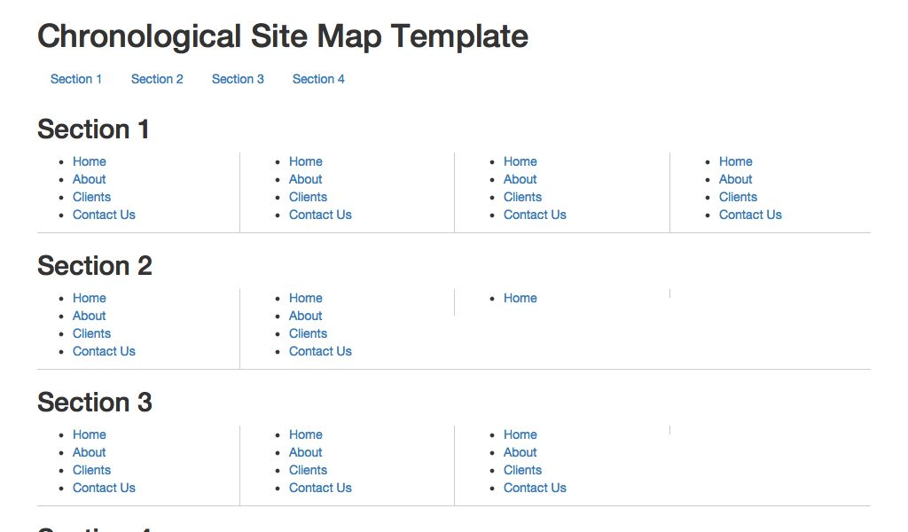 Sitemap Layout - Bootstrap Examples