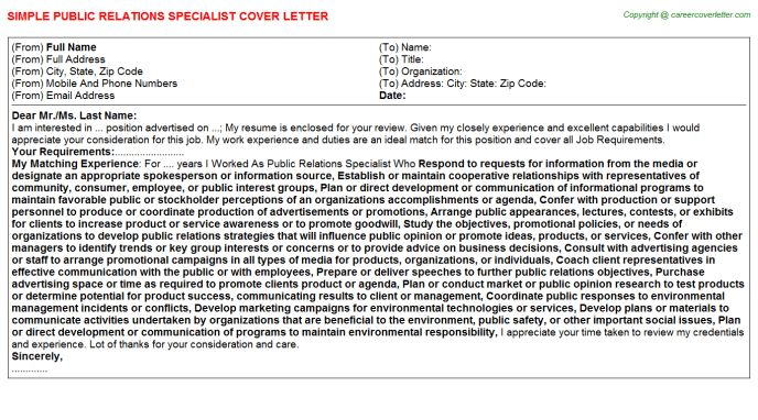 employee relations specialist cover letter chinese chef cover ...