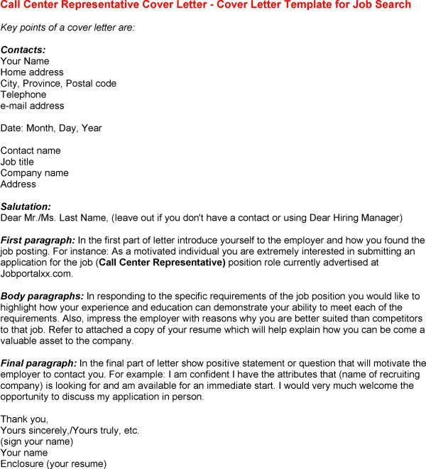 Cover Letter Template for Call Centre Template of Call Centre ...