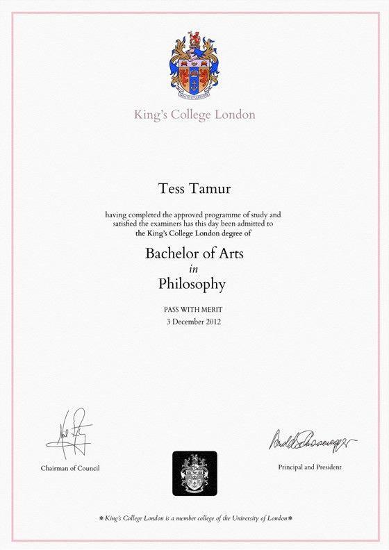 Frame for degrees from King's College London | University Degree ...