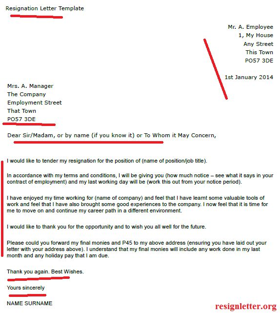 Example Resignation Letter Template - Resignation Letter Examples