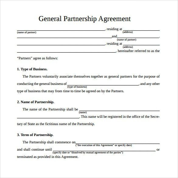 Partnership Contract Templates. Printable Sample Partnership ...