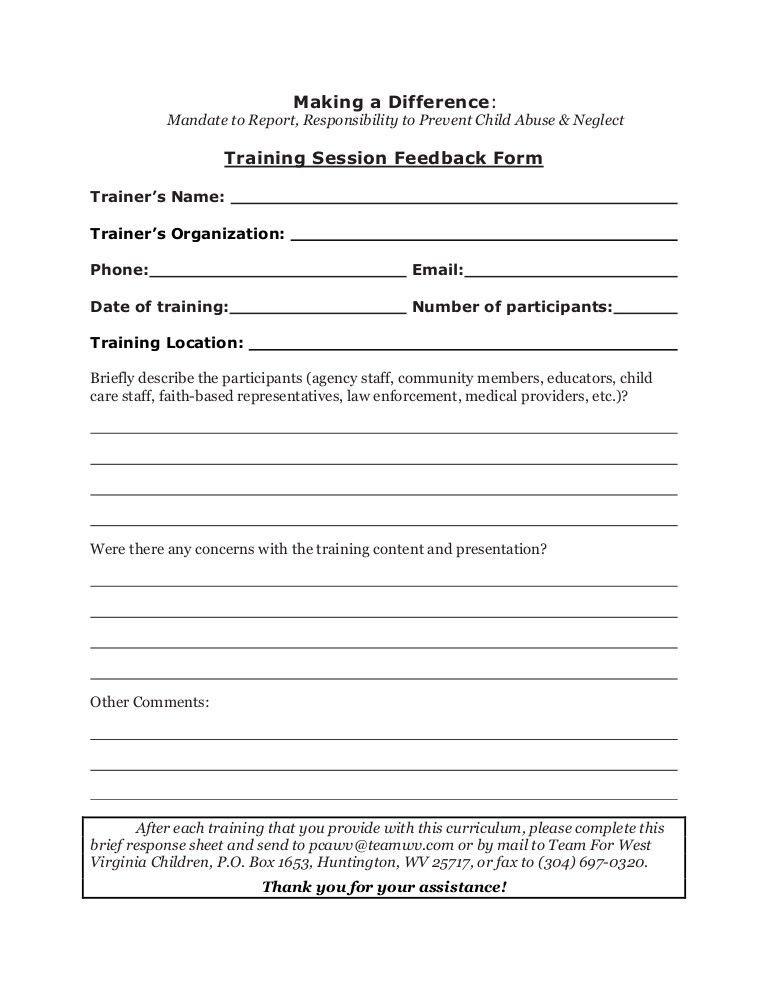 Training Feedback Form. Training Evaluation Form Feedback Form ...