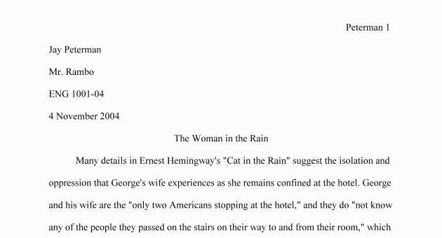 proper format for essay