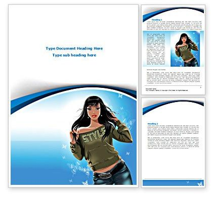Stylish Girl Word Template 08265 | PoweredTemplate.com