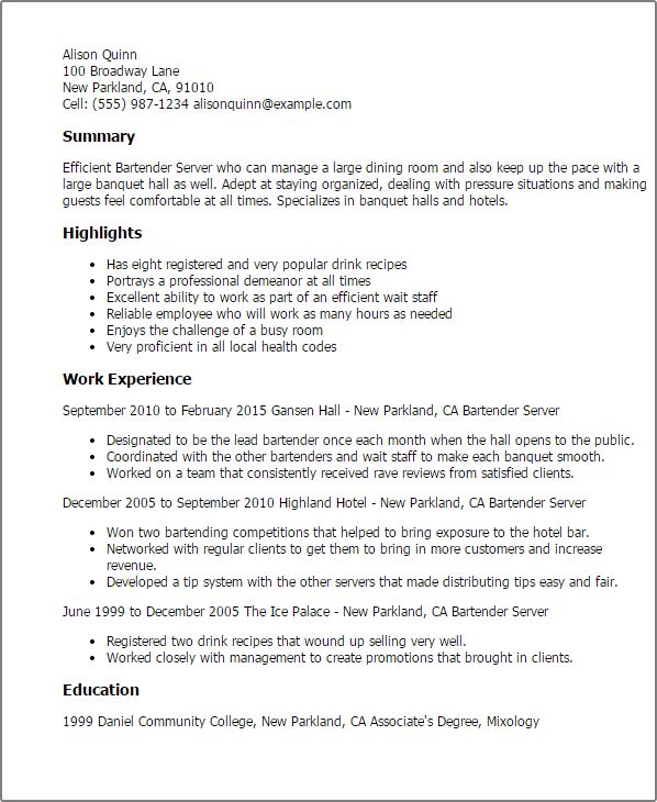 Download Bartender Resume Examples | haadyaooverbayresort.com