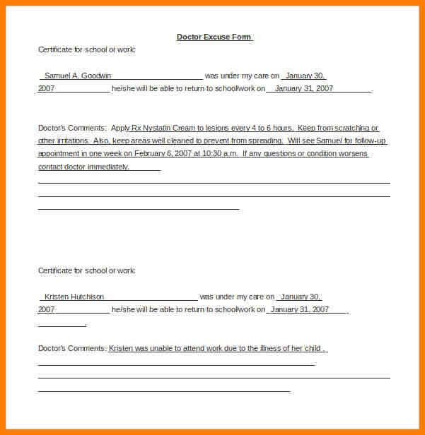 Urgent Care Doctors Note Template.Saample Doctor Note Template For ...
