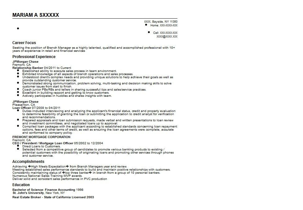 Banker Resume [Template.billybullock.us ]