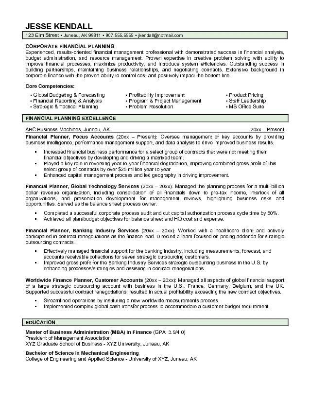 financial planning consultant resume planner resume certified