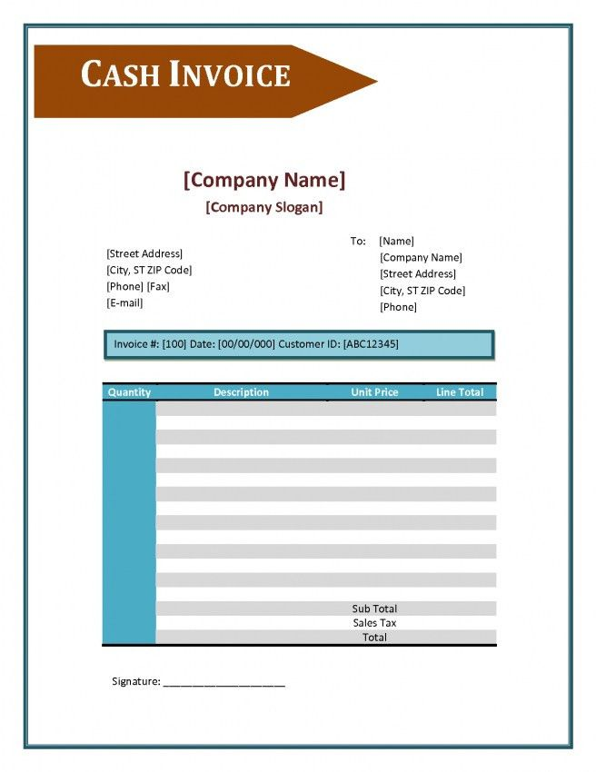 Cash Invoice Template | invoice example