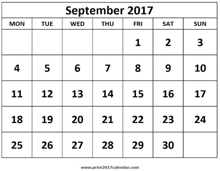 2017 September Calendar Template http://socialebuzz.com/september ...
