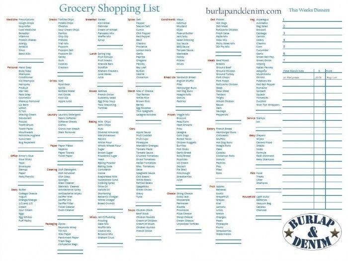 Grocery List Maker With Prices | grocery list template
