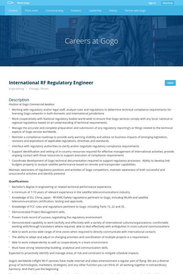 International RF Regulatory Engineer job at GOGO in Chicago, IL ...