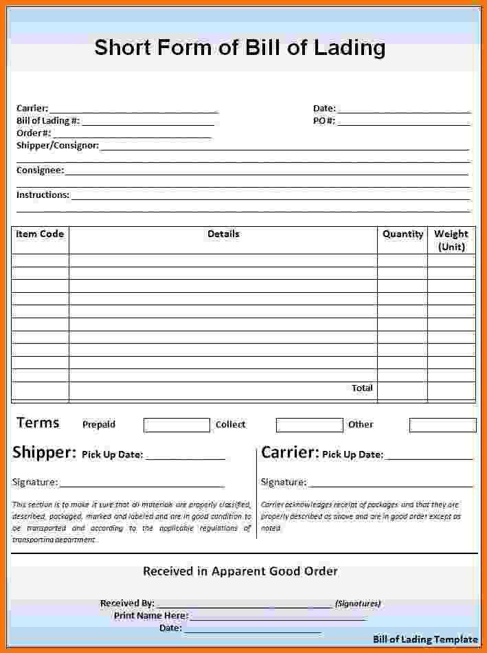 Blank Bol Form Bill Of Lading Template Form Pdf Download Bill Of – Bol Template