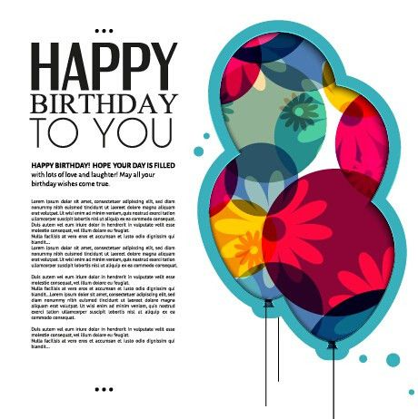 Template birthday greeting card vector material 01 - Vector ...
