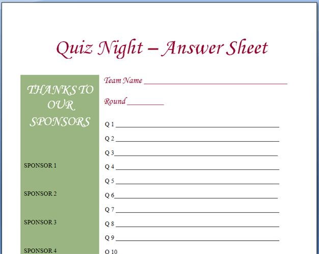 Quiz Night Answer Sheets