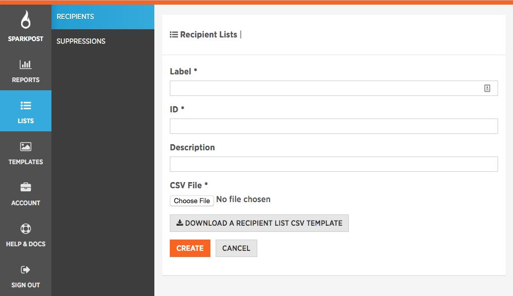 Uploading and Storing a Recipient List as CSV file - SparkPost