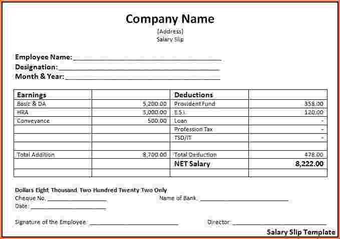 5+ sample payslip template | Simple salary slip