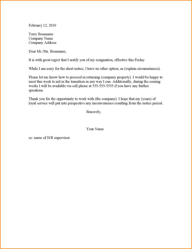 Resignation Letter Early Release
