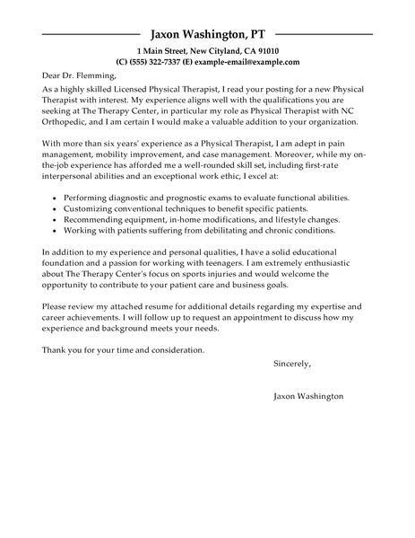 Stupefying Physical Therapy Cover Letter 3 Best Therapist Examples ...