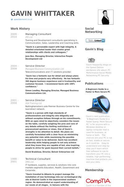 Managing Consultant Resume samples - VisualCV resume samples database