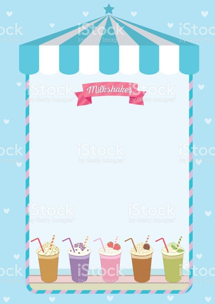 Milkshakes Menu Template Decorated On Blue Cute Cafe Background ...