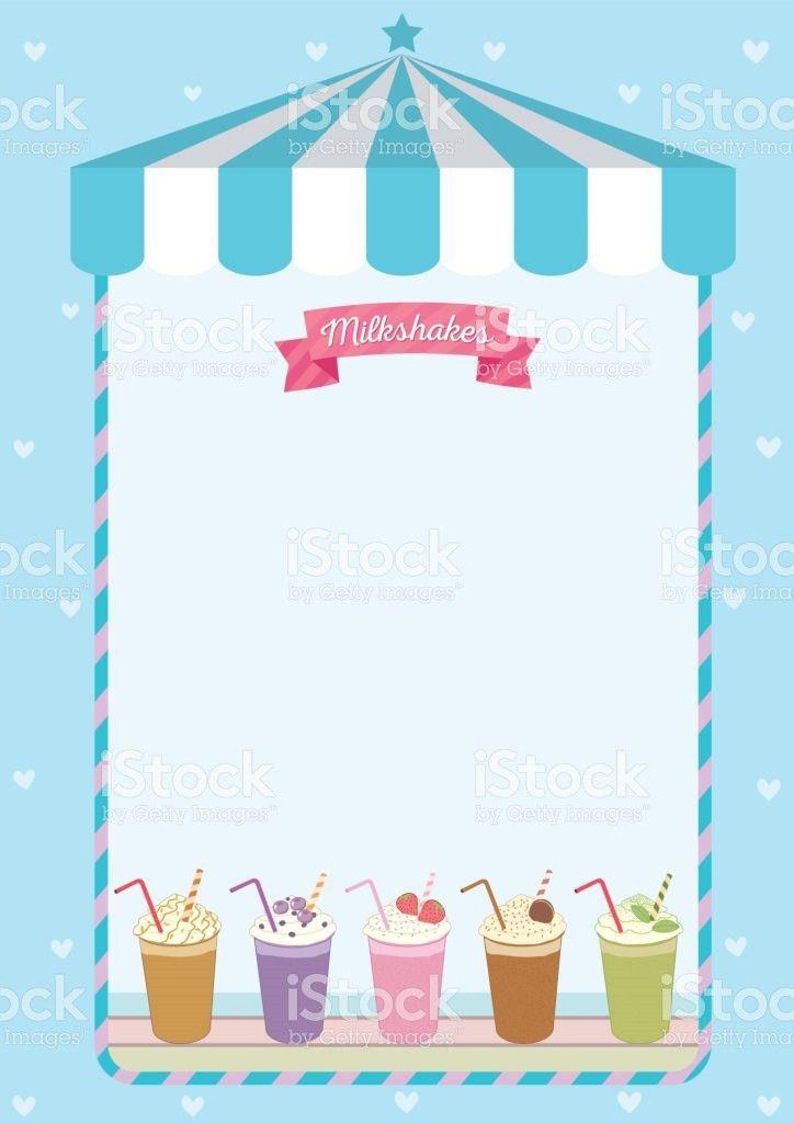 Milkshakes Menu Template Decorated On Blue Cute Cafe Background ...