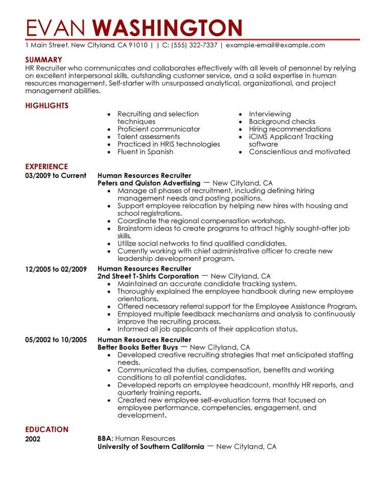 hr resume samples resume for a generalist in human resources