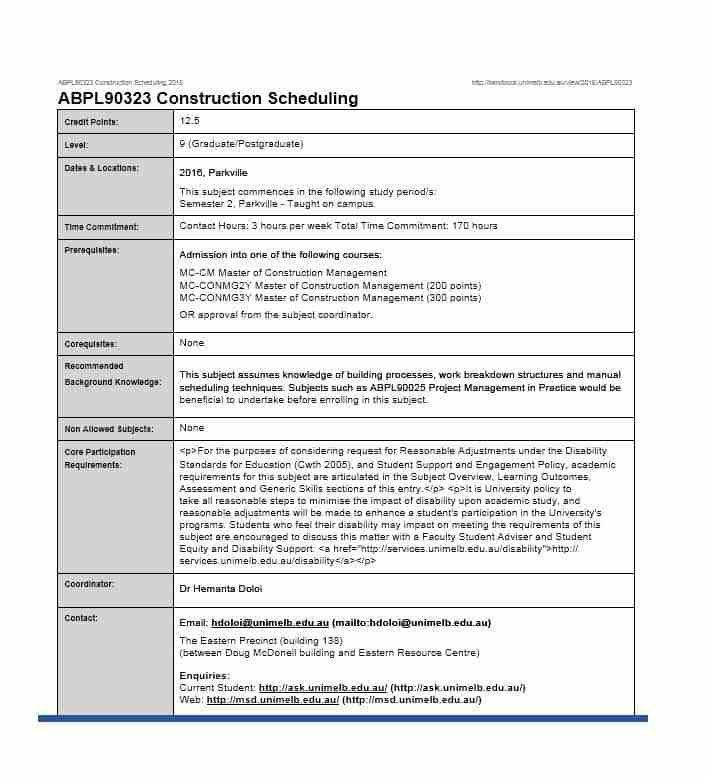 Construction Scheduling Template. contract payment schedule ...