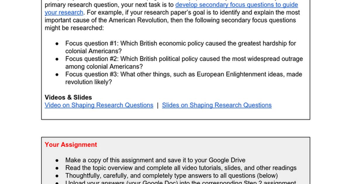 Primary Question and Focus Questions (Step 2) - Google Docs