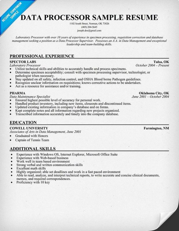 Specimen Processor Sample Resume] Bunch Ideas Of Sterile Processing ...