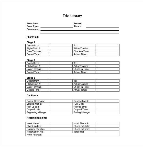 Itinerary Template – 15+ Free Word, Excel, PDF Documents Download ...